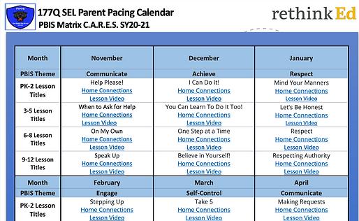 PBIS Pacing Calendar