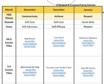 PBIS Pacing Chart