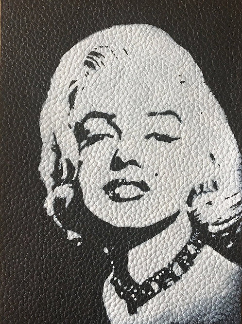 Marilyn Monroe handpainted leather patch
