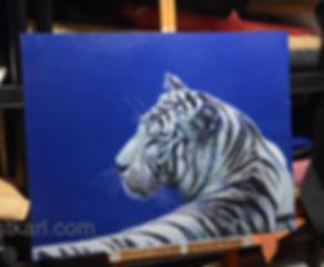 tiger painted on leather UK based artist