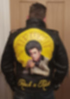 Elvis Presley leather jacket art painting portrait unique leather artist Karl Hamilton Cox painted leather jacket