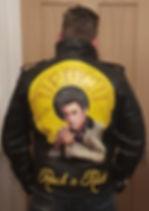 Elvis Presley leather jacket art painting portrait unique leather artist Karl Hamilton Cox painted leather jacket