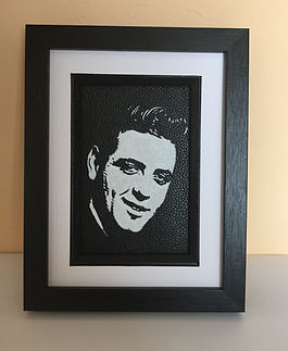 Eddie Cochan come on everybody framed painting portrait leather artist Karl Carl