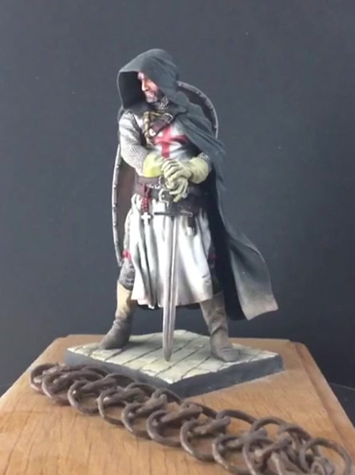 Templar Sergeant 13th Century figure with authentic chainmail