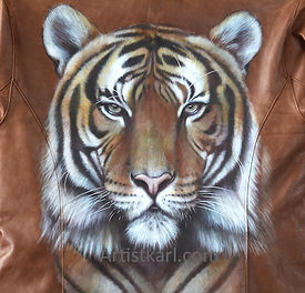 Tiger painted leather jacket portrain