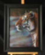 Amur Tiger Watchful Eye painted on leather by Artist Karl