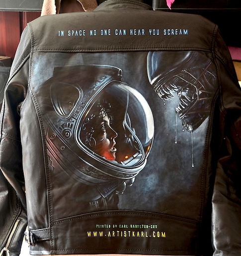 Alien jacket Sigorney Weaver leather jacket art artwork Artist Karl Hamilton-Cox commission