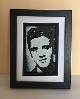 Elvis Presley the pelvis rock n roll monochrome portrait on black leather unique gift idea Artist Kar Carl