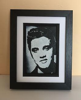 Elvis Presley the pelvis rock n roll monochrome portrait on black leather unique gift idea Artist Kar Carl