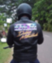 Bespoke hand painted leather jacket by the leather artist Karl Hamilton-Cox Kalai India
