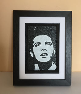 Cliff Richard and the shadows monochrome portrait by the leather artist Karl Hamilton-Cox Art on Leather