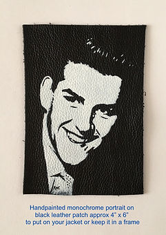 Vince Eager portrait hand painted on leather patch rock n roll Artist Karl leather artist