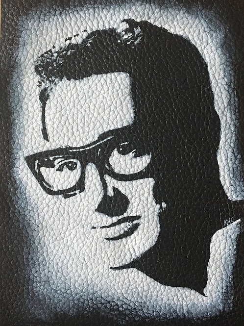 Buddy Holly handpainted leather patch