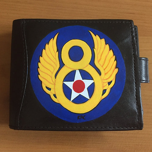 8th Air Force handpainted black leather wallet