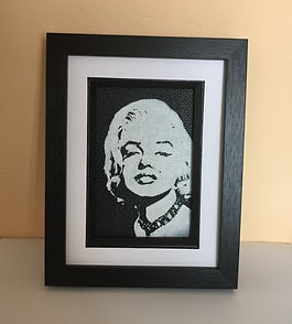 Marilyn Monroe monochrome painting on leather by The leather artist