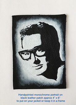 Buddy Holly monochrome portrait on leather