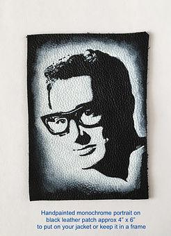 Buddy Holly monochrome portrait on leather