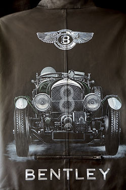 Bentley Blower leather jacket handpainted for sale Karl the Leatherman Leather Artist @artistkarl