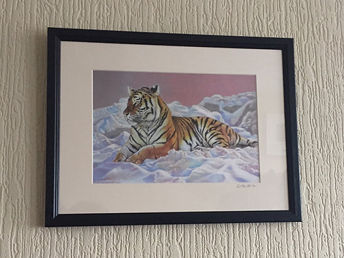 Chilling print, signed, mounted and framed