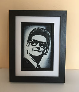 Roy Orbison portrait framed on leather by Artist Karl rock and roll