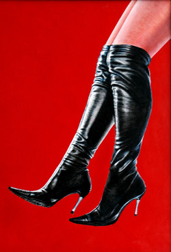 Black Boots on red leather