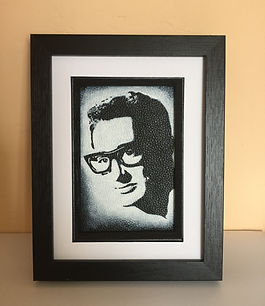 Buddy Holly framed black and white portrait painting unique gift idea christmas birthday holiday sorry love boyfriend girlfriend glasses The Leather Artist