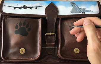 Leather camera bag painted images Typhoon Lancaster bear prints commission