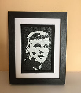 Billy Fury framed monochrome painting on leather by Carl Hamilton Cox Cocks fan art
