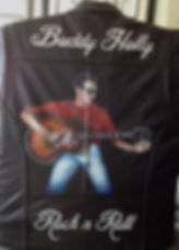 Buddy Holly Baldy Holly band painted leather jacket Artist Karl Carl Hereford