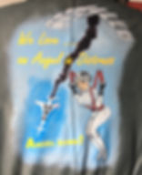 Captain Scarlett Angel Thunderbirds Are Go art painted on leather jacket
