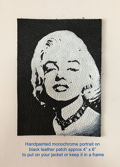 Marilyn Monroe portrait painted on leather