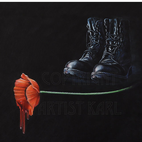 Fallen - painted on leather