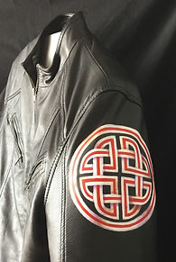 New Model Army logo painted leather jacket