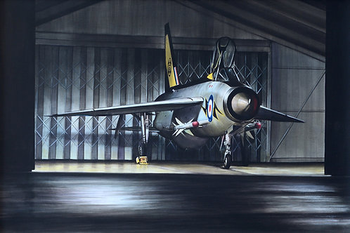 Cold War Interceptor acrylic painting framed (available for overseas purchase)