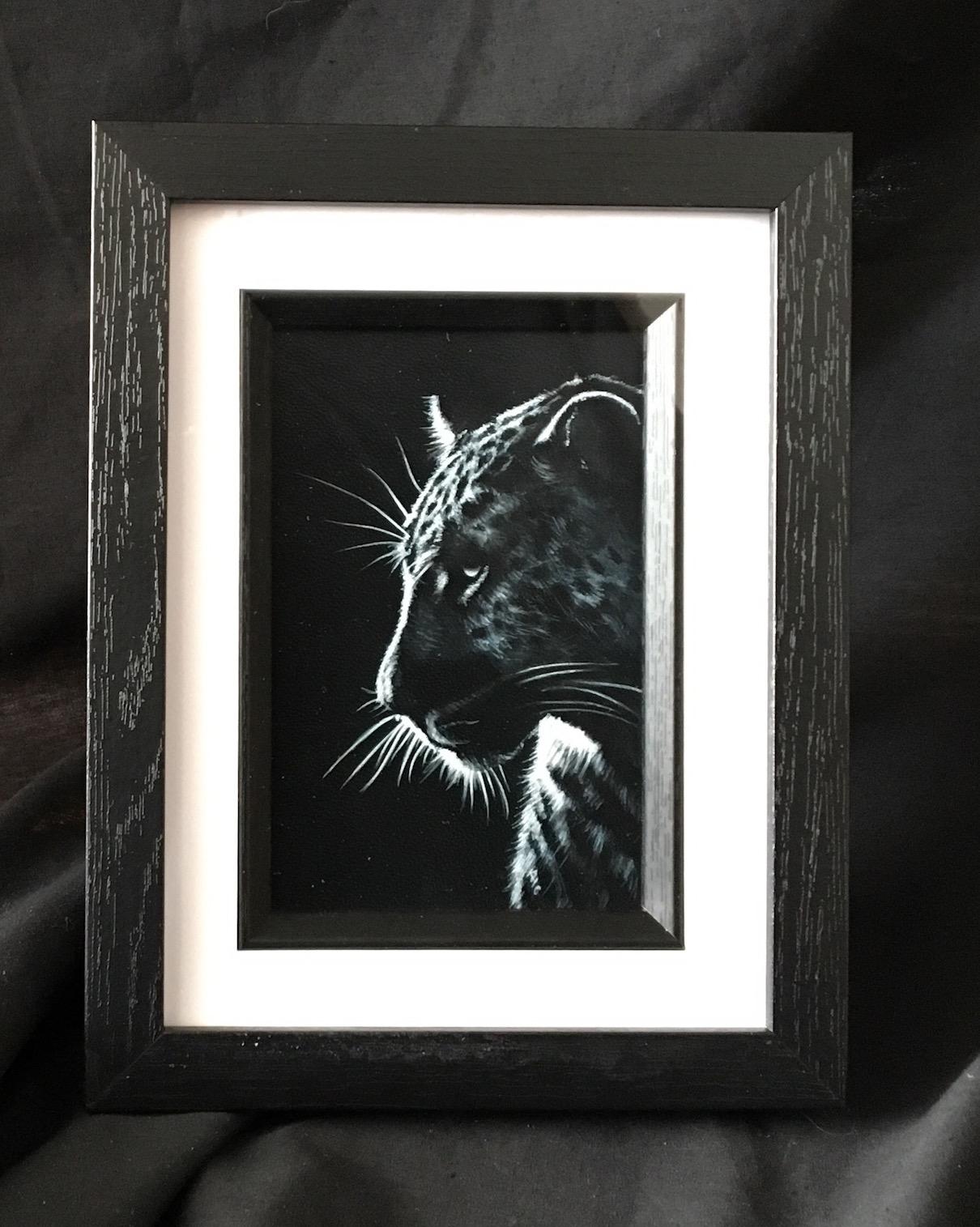 Monochrome leopard portrait