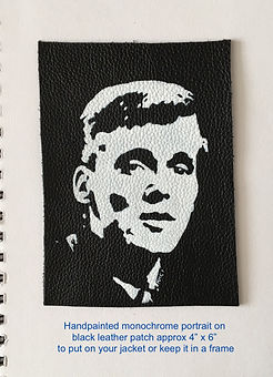 Billy Fury monochrome portrait on black leather by the leather artist Kar Hamilton Cox