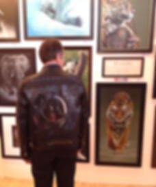 Exhibiting Art on Leather jackets wall art gallery