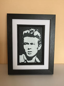 James Dean monochrome portrait on leather by Artist Karl