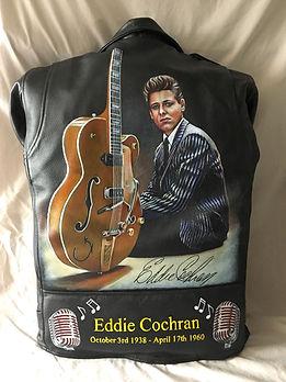 Eddie Cochran leather artist jacket pained rok n roll legend