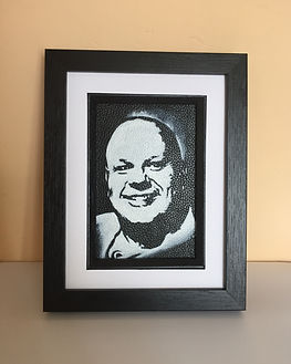 Baldy Holly monochrome portrait on leather by Artist Karl Carl Hamilton Cox Cock