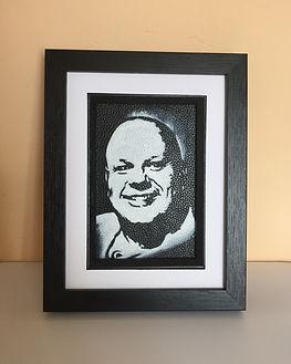 Baldy Holly monochrome portrait on leather by Artist Karl Carl Hamilton Cox Cock