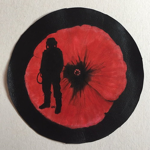 Remembrance Airman handpainted leather patch
