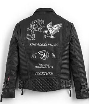 Boda Skins leather artwork jacket artist @artistkarl @bodaskins @dragonandeagle bride & groom