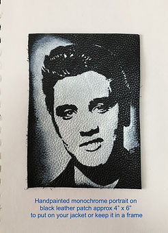 Elvis Presley black & white portrait on leather