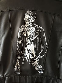 Zombie art whisky painted on leather jacket Karl Carl Lee Essex