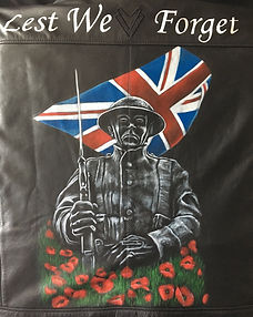 Lest We Forget commemorative art on leather Karl Carl Hamilton-Cox Hereford UK Wales