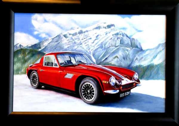 completed painting customer commission red sports car