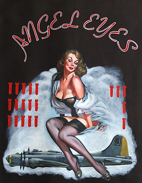 pinup pin-up bomber plane bombs strikes sexy boudoir angel Karl Leatherman