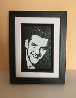 VINE EAGER LEATHER PATCH unique gift framed portrait