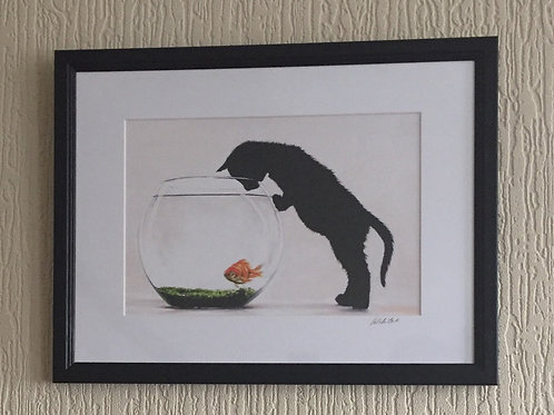 Just Lookin' framed, signed mounted print